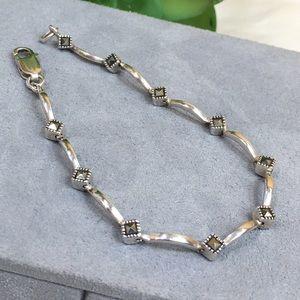 Jewelry - Sterling Silver & Marcasite Link Bracelet